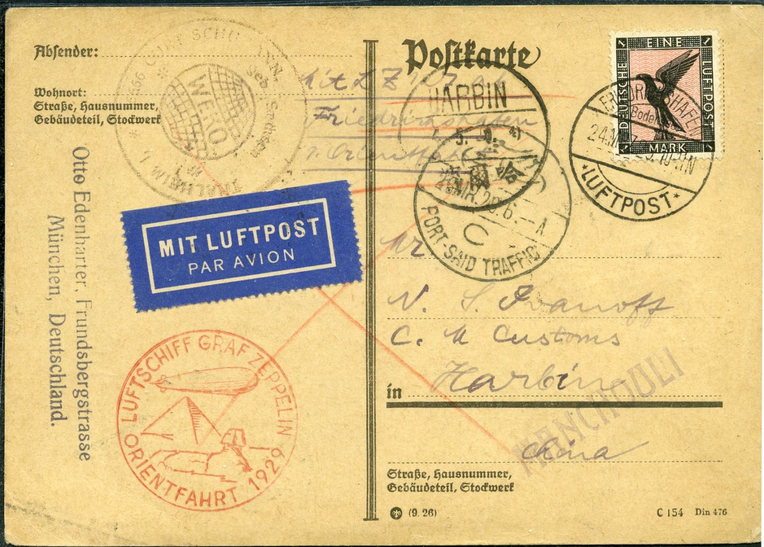 Lot 16 - AIR MAIL (Palestine related incl. Zeppelin, crashes & WWII)  -  Tel Aviv Stamps Ltd. Auction #49